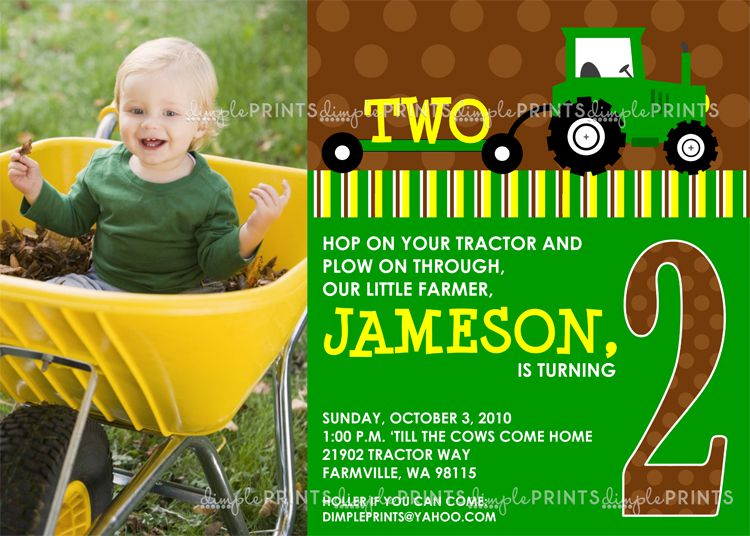 Boy Tractor Birthday Invitations