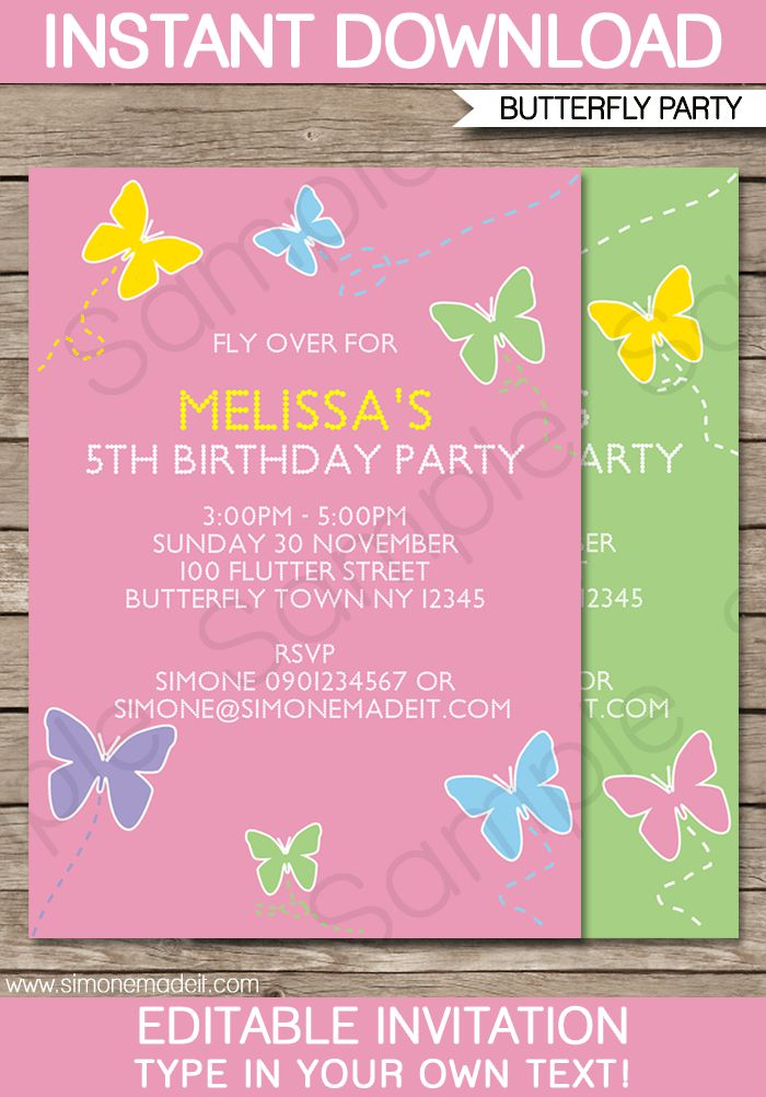 Butterfly And Flower Birthday Invitations