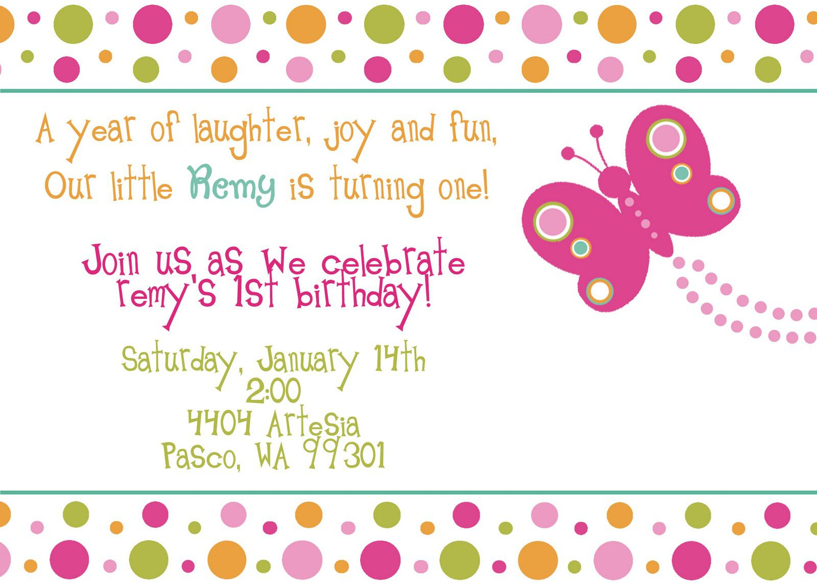 Butterfly And Ladybug Birthday Invitations