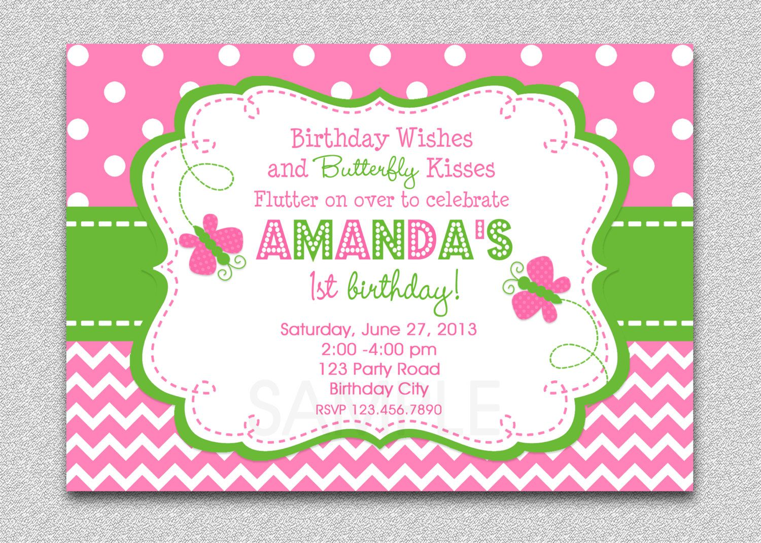Butterfly Birthday Invitations Free Download