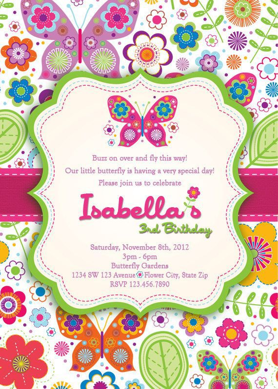 Butterfly Birthday Invitations Templates Free