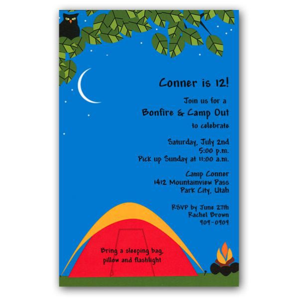 Camping Birthday Invitations Diy