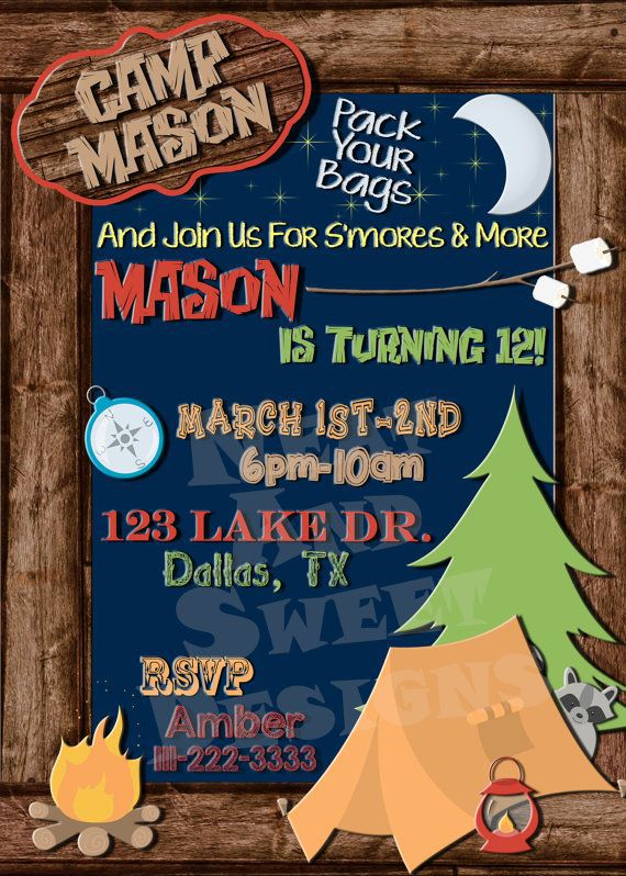 Camping Birthday Invitations Free