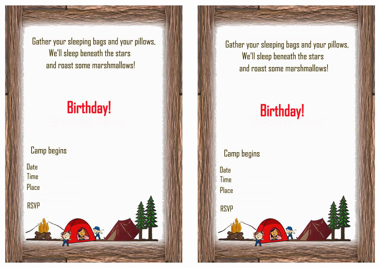 Camping Birthday Invitations Ideas
