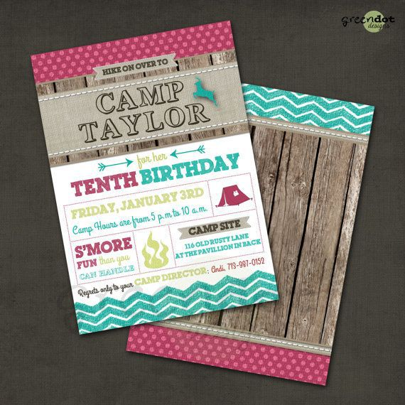 Camping Birthday Invitations Wording