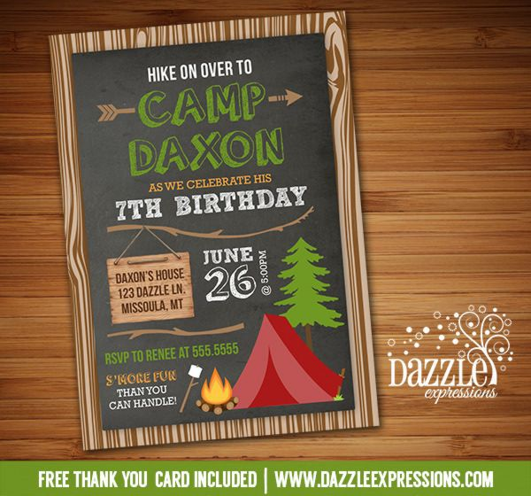 Camping Birthday Party Invitations Free Printable