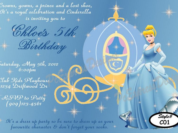 Cheap Cinderella Birthday Invitations