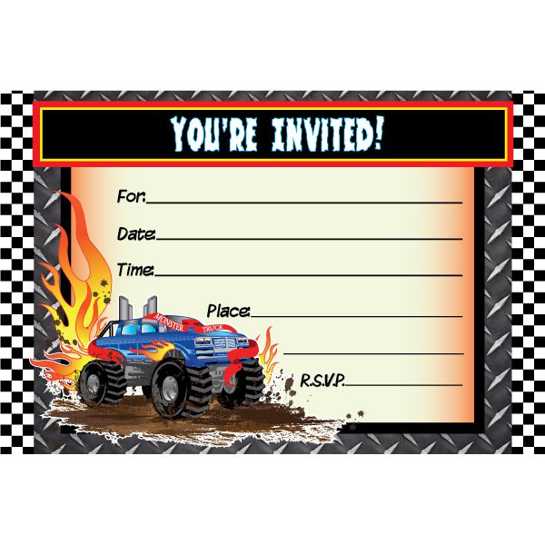 Cheap Monster Truck Birthday Invitations