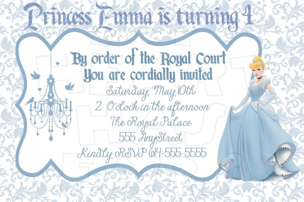 Cinderella Birthday Invitation Cards