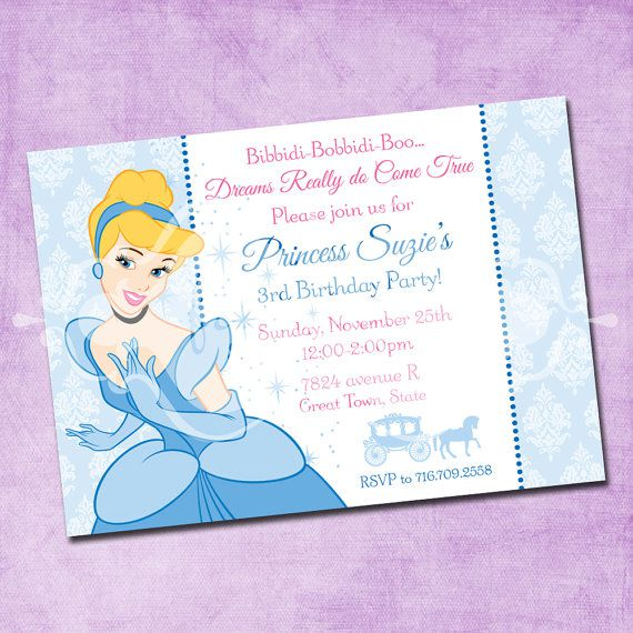 Cinderella Birthday Invitations Free