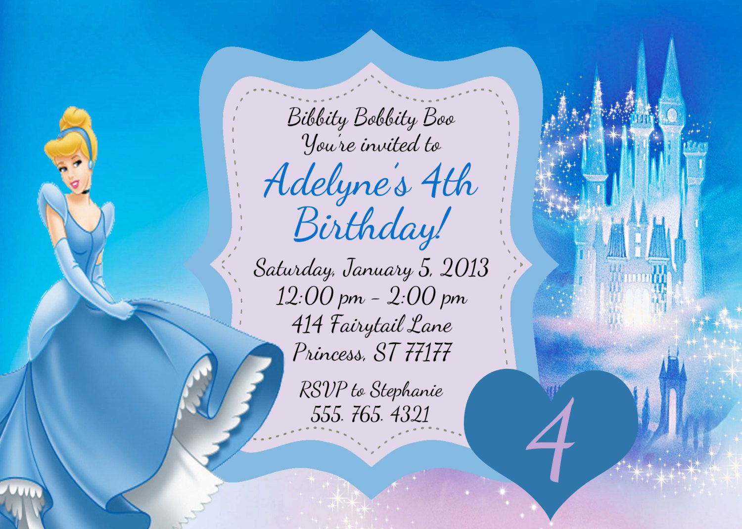 Cinderella Birthday Invitations Templates