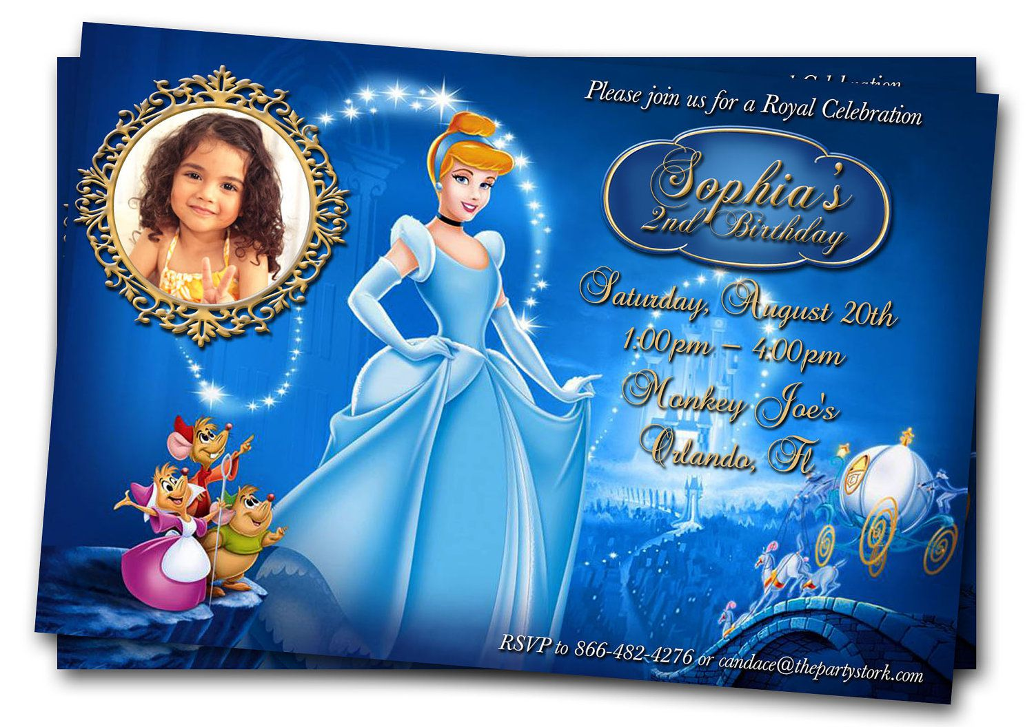 Cinderella Carriage Birthday Invitations