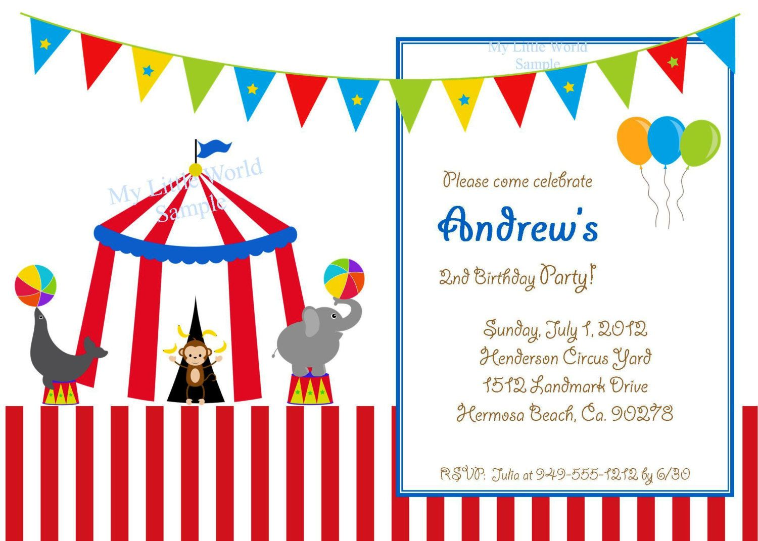 Circus Animal Birthday Invitations