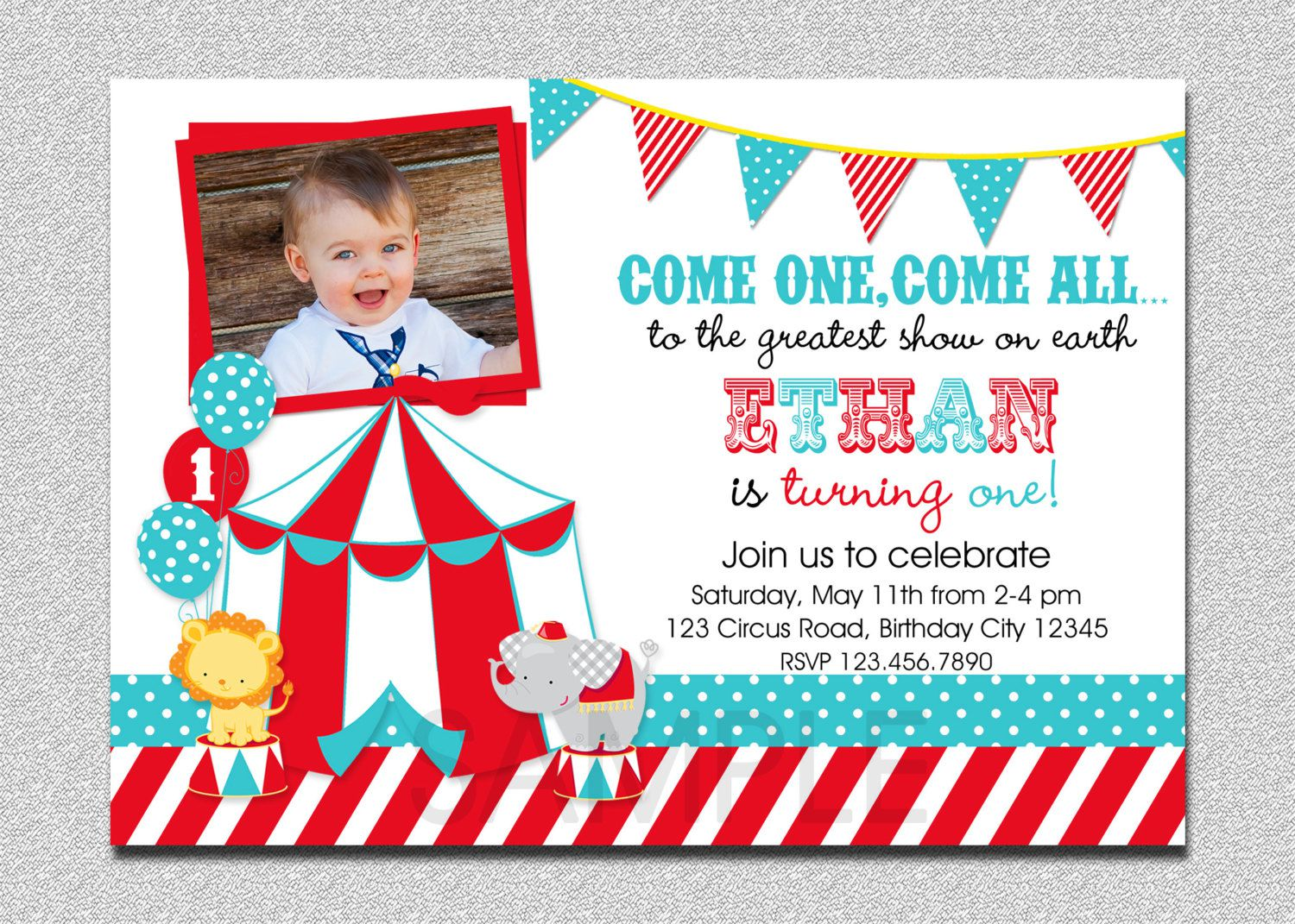 Circus Baby Birthday Invitations