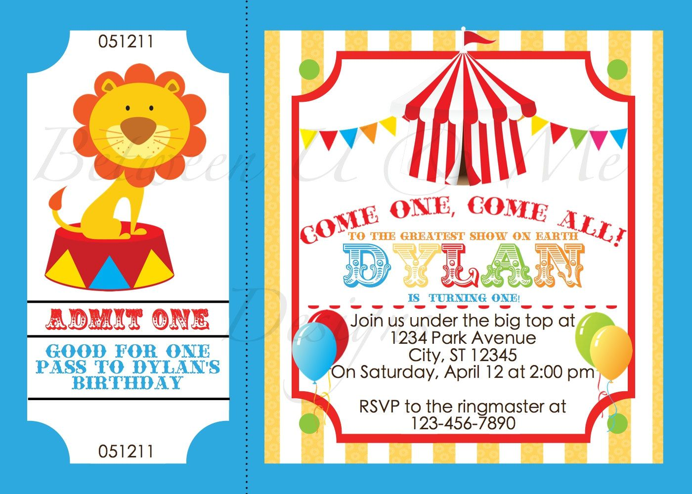Circus Birthday Invitations Australia