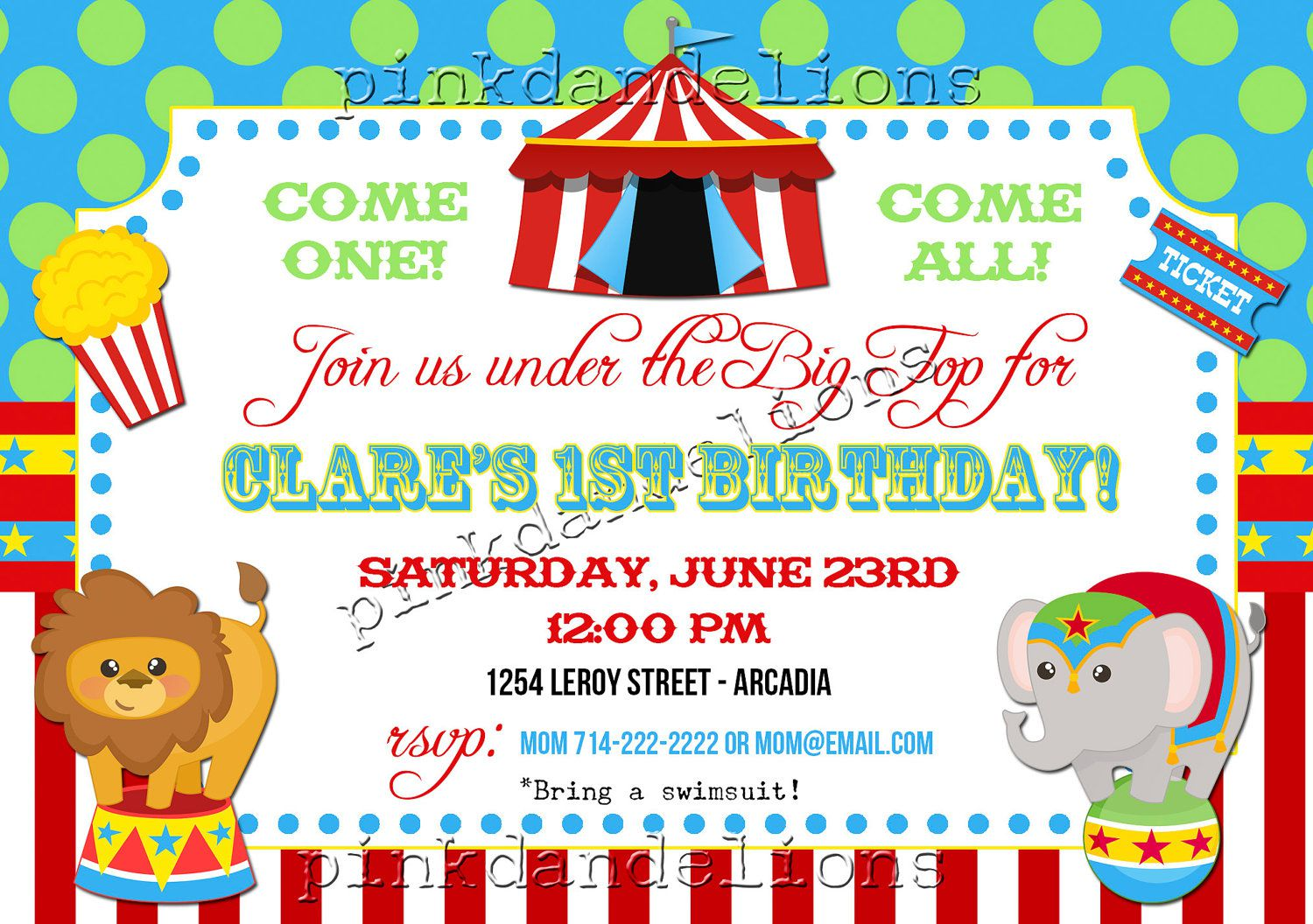 Circus Birthday Invitations Etsy