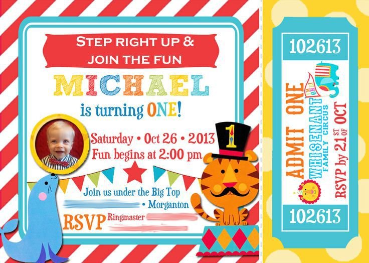 Circus Birthday Invitations Templates