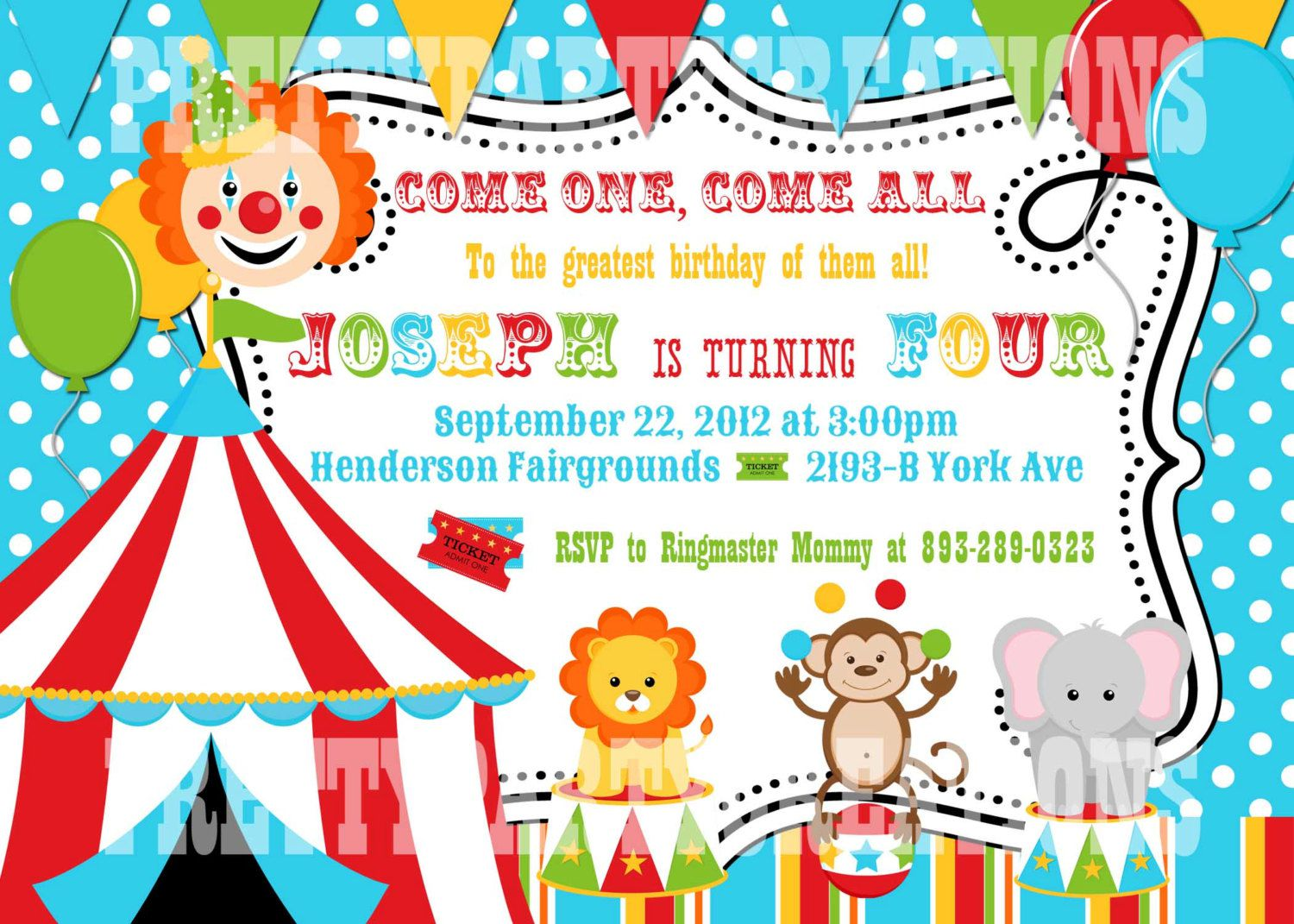 Circus Birthday Invitations Uk