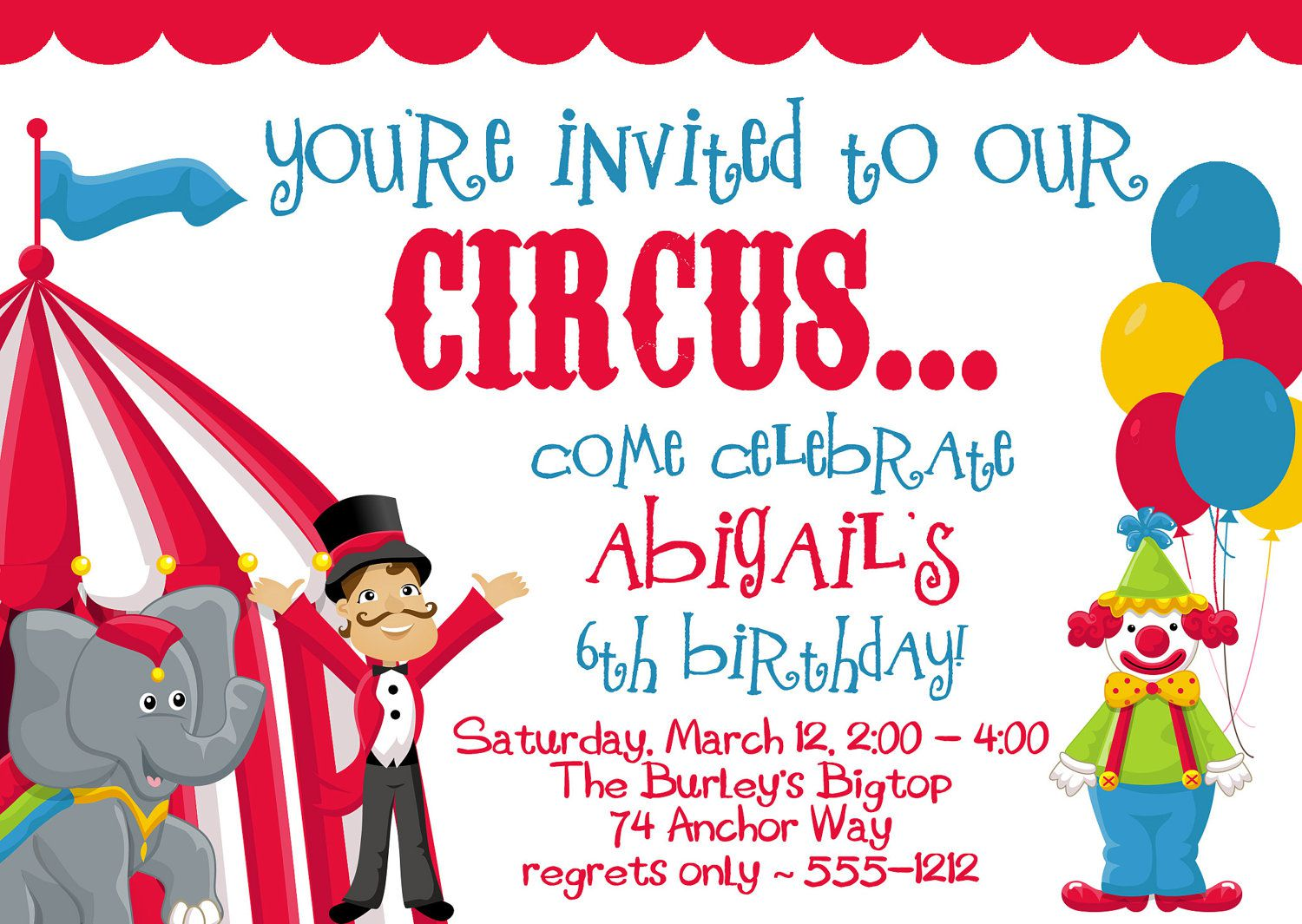 Circus Birthday Invitations With Photo