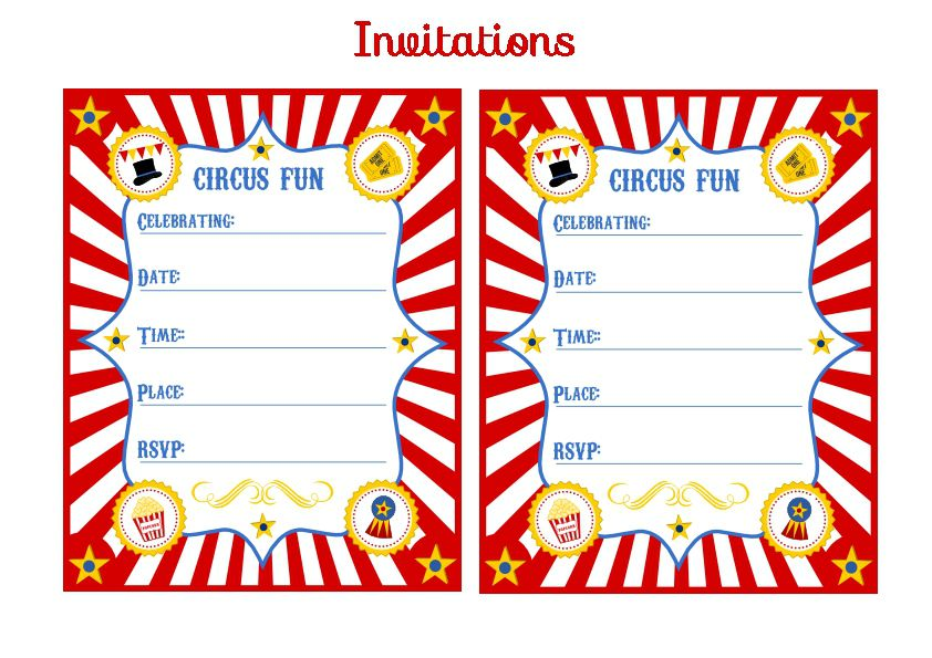 Circus Invitations Birthday Party
