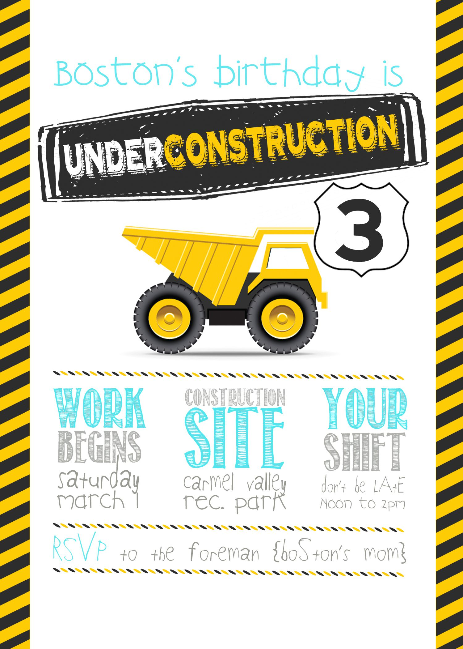 Construction Birthday Party Invitation Ideas