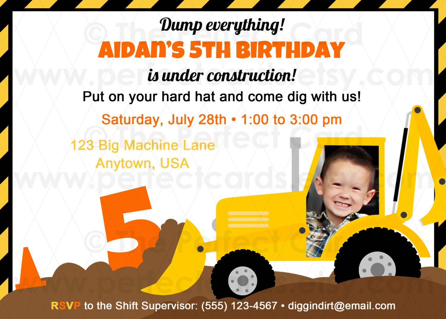 Construction Birthday Party Invitations Printable