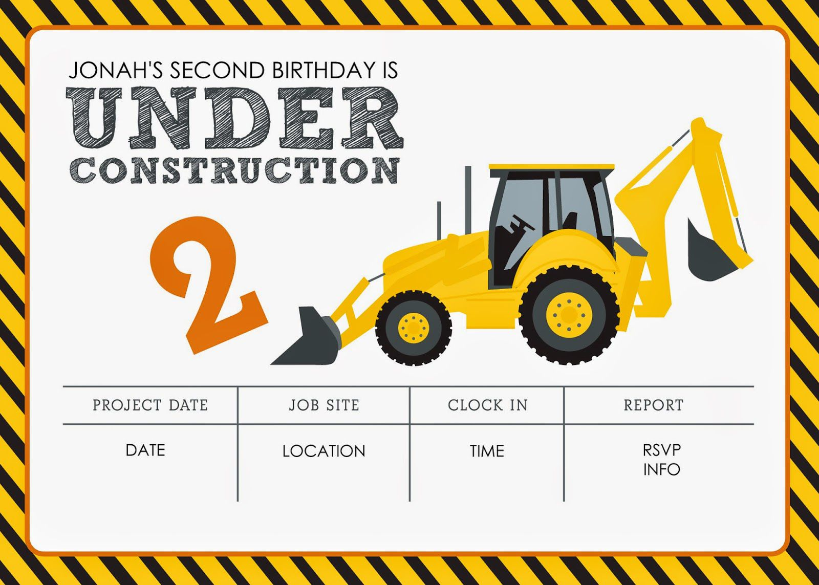 Construction Themed Birthday Party Invitations