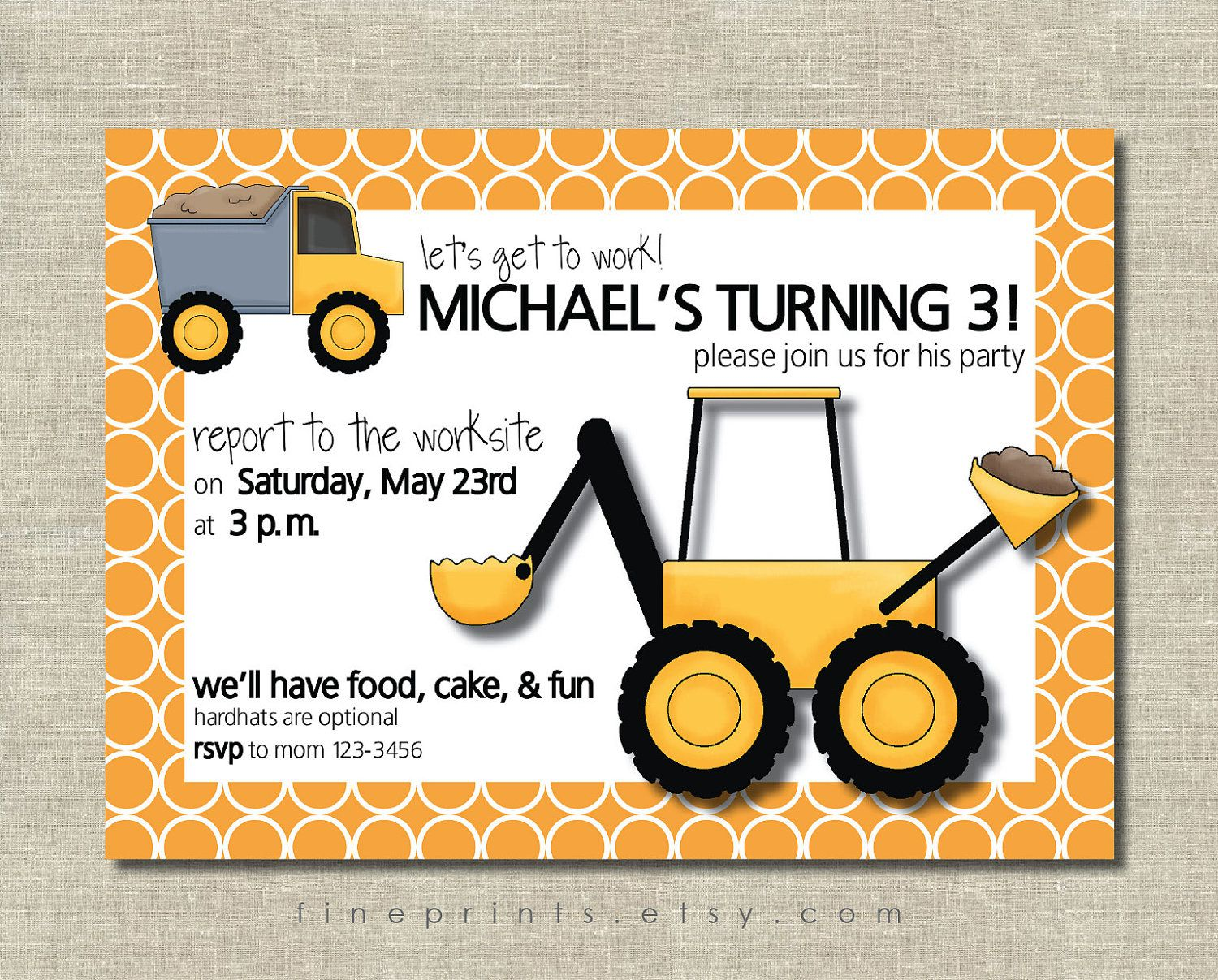 Construction Zone Birthday Party Invitations