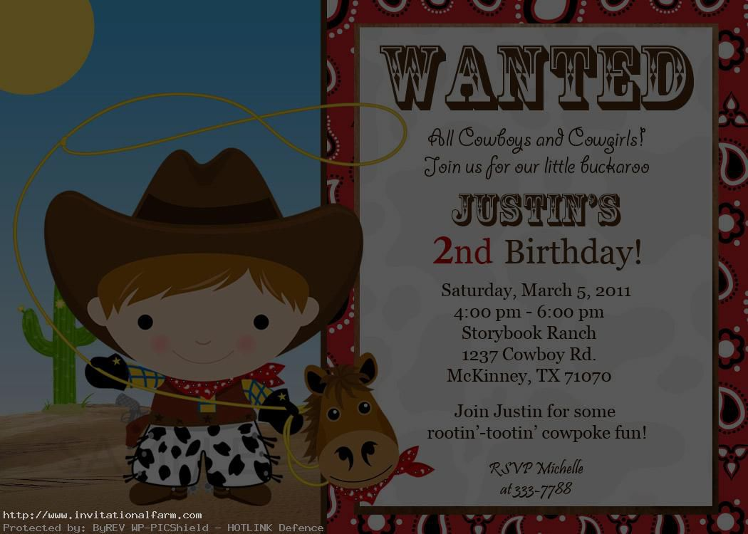 Cowboy Birthday Invitations Free
