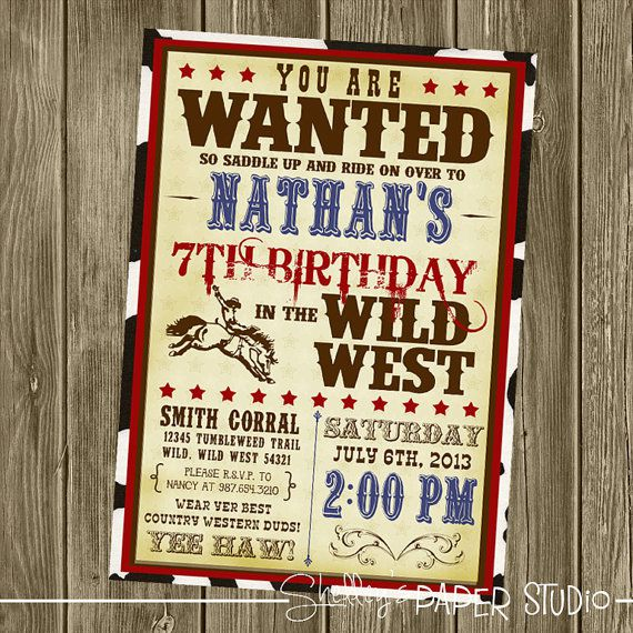Cowboy Birthday Invitations Printable