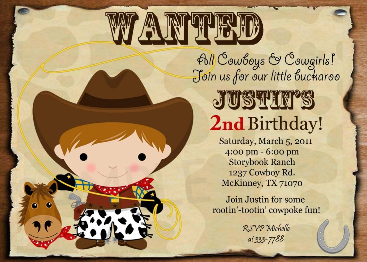Cowboy Birthday Invitations Uk