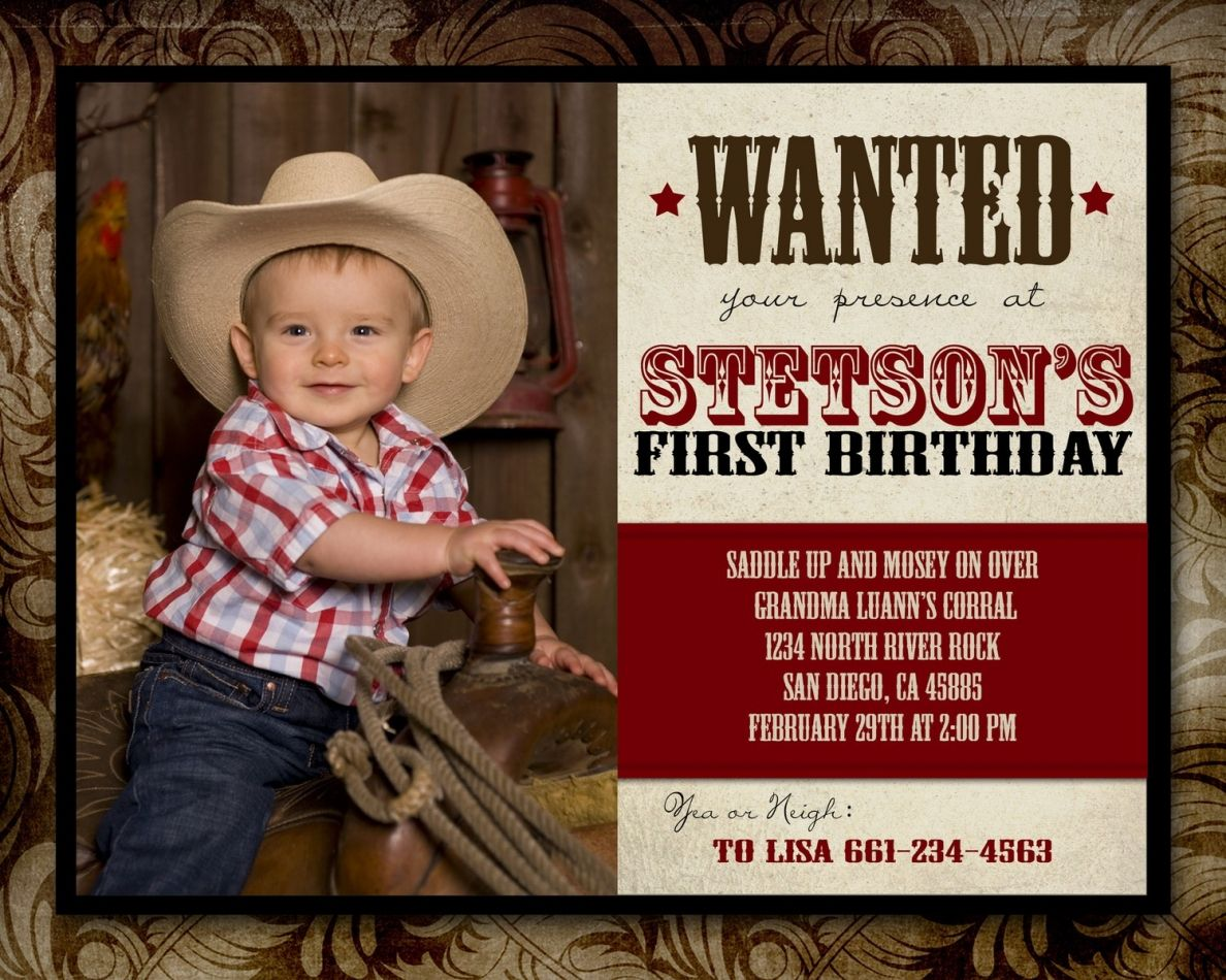 Cowboy Birthday Invitations Wording