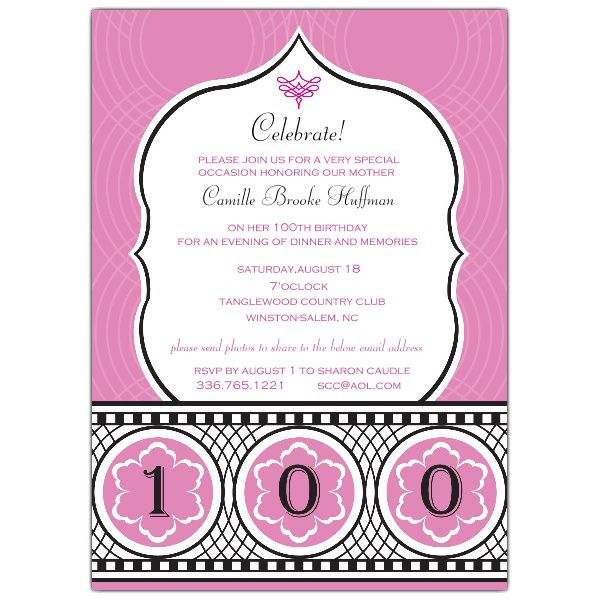 Custom 100th Birthday Invitations
