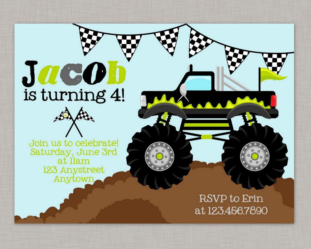 Custom Monster Truck Birthday Invitations