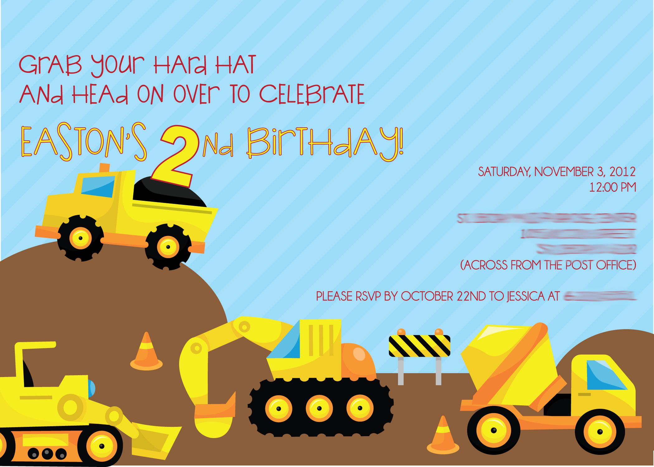 Diy Construction Birthday Party Invitations