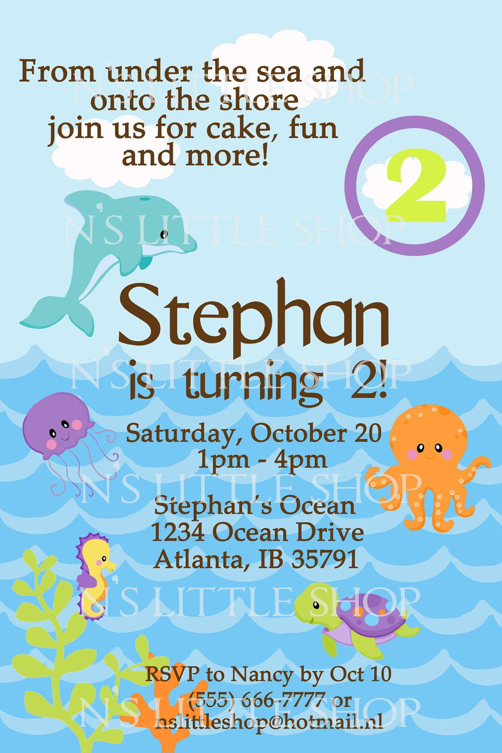 Diy Under The Sea Birthday Invitations