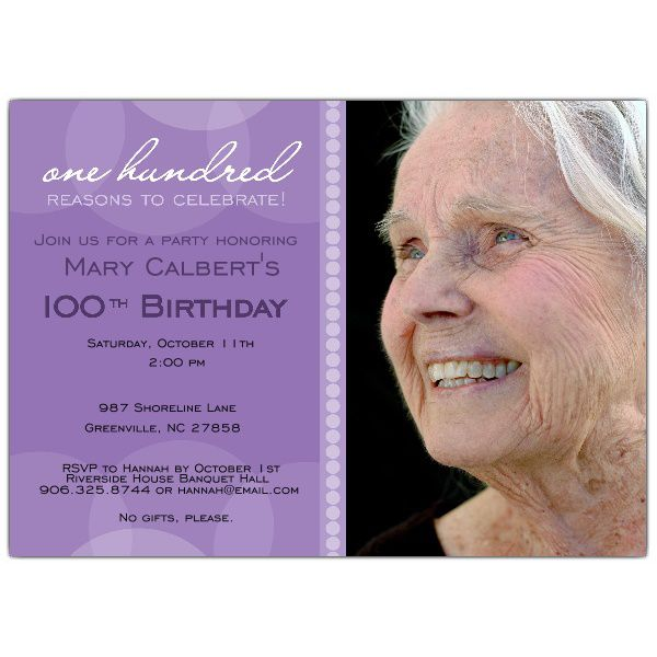 Elegant 100th Birthday Invitations