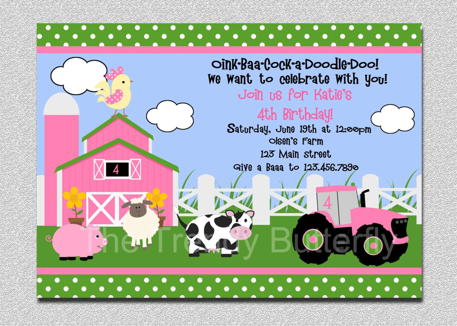 Farm Animal Birthday Invitation Template