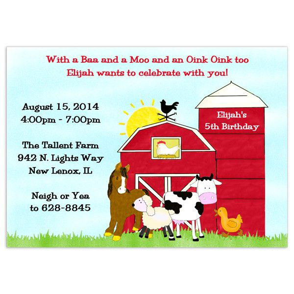 Farm Birthday Invitation Sayings