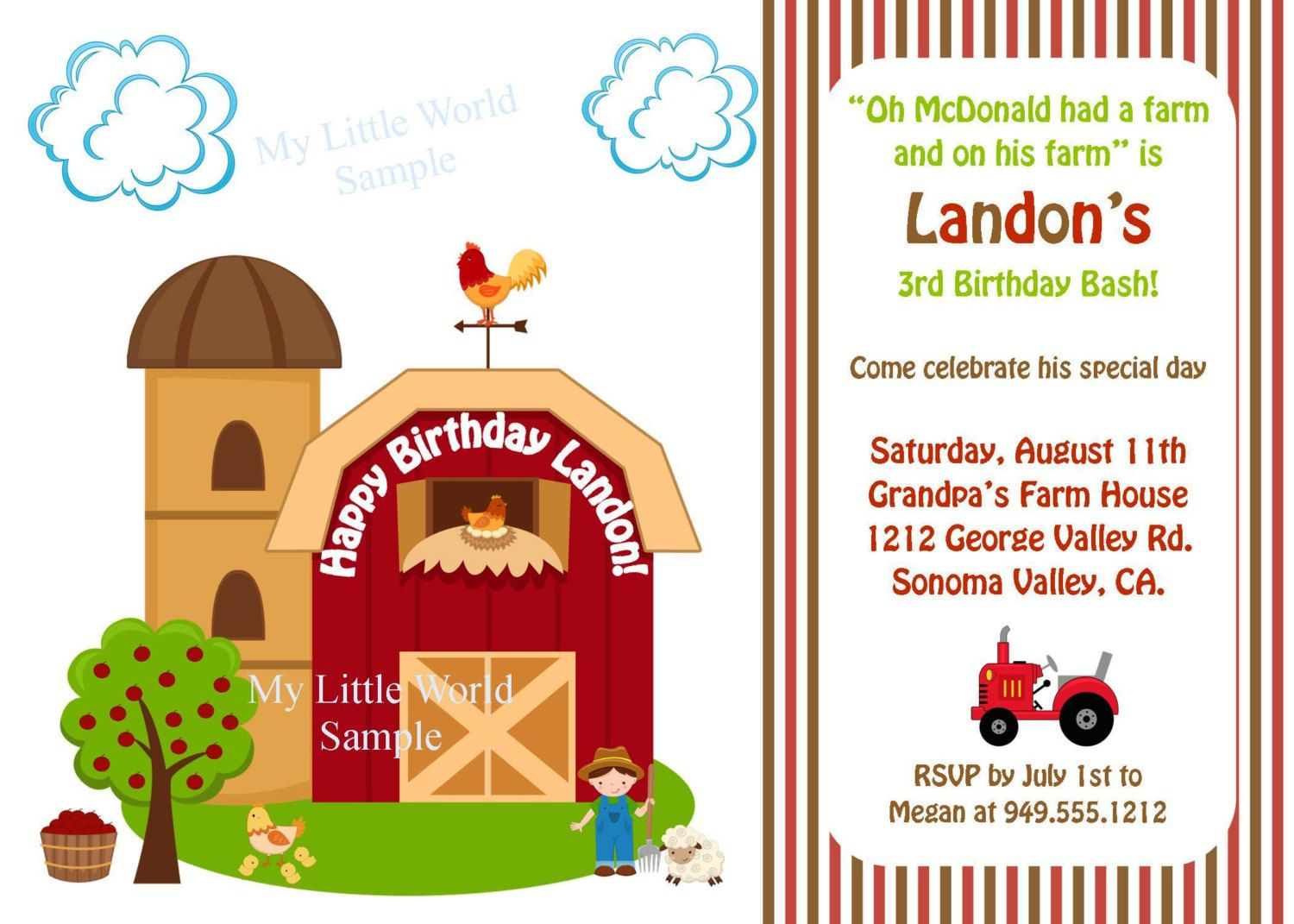 Farm Birthday Invitation Templates