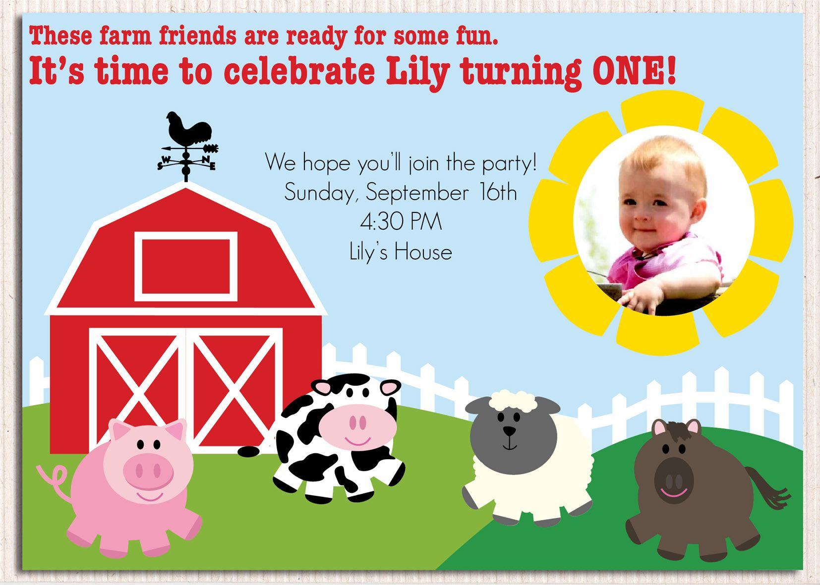 Farm Tractor Birthday Invitations