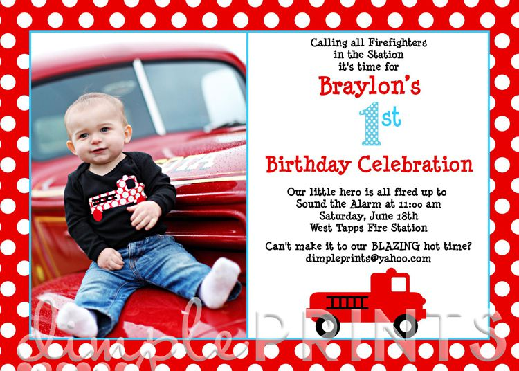 Fire Engine Birthday Invitations Australia