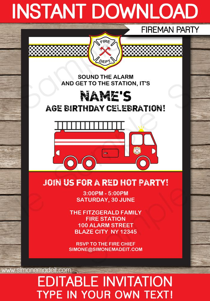 Fire Engine Birthday Party Invitations Australia