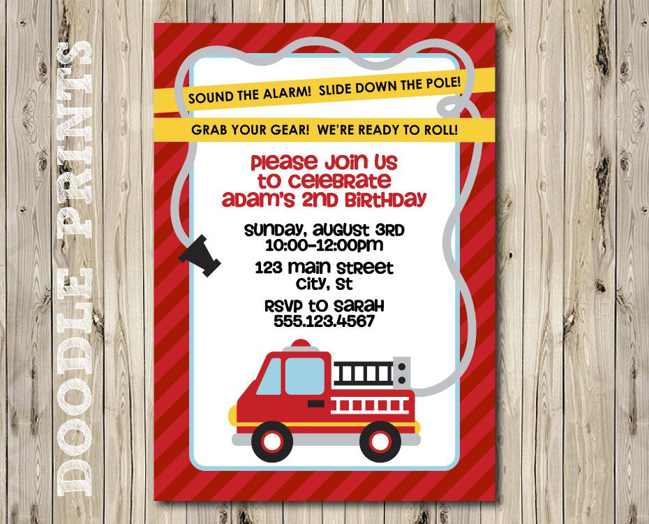 Fire Truck Birthday Invitations Etsy