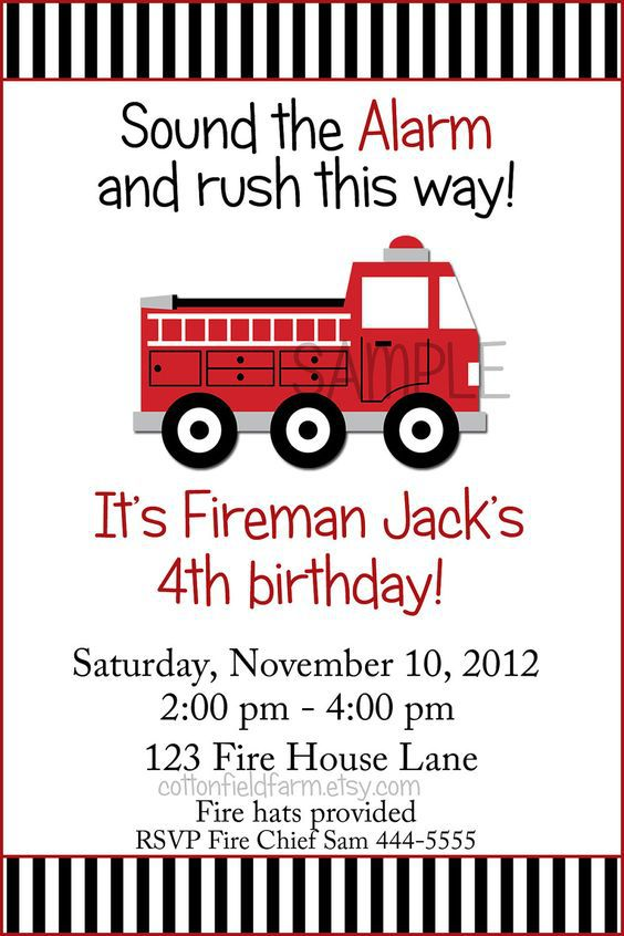 Fire Truck Birthday Invitations Free