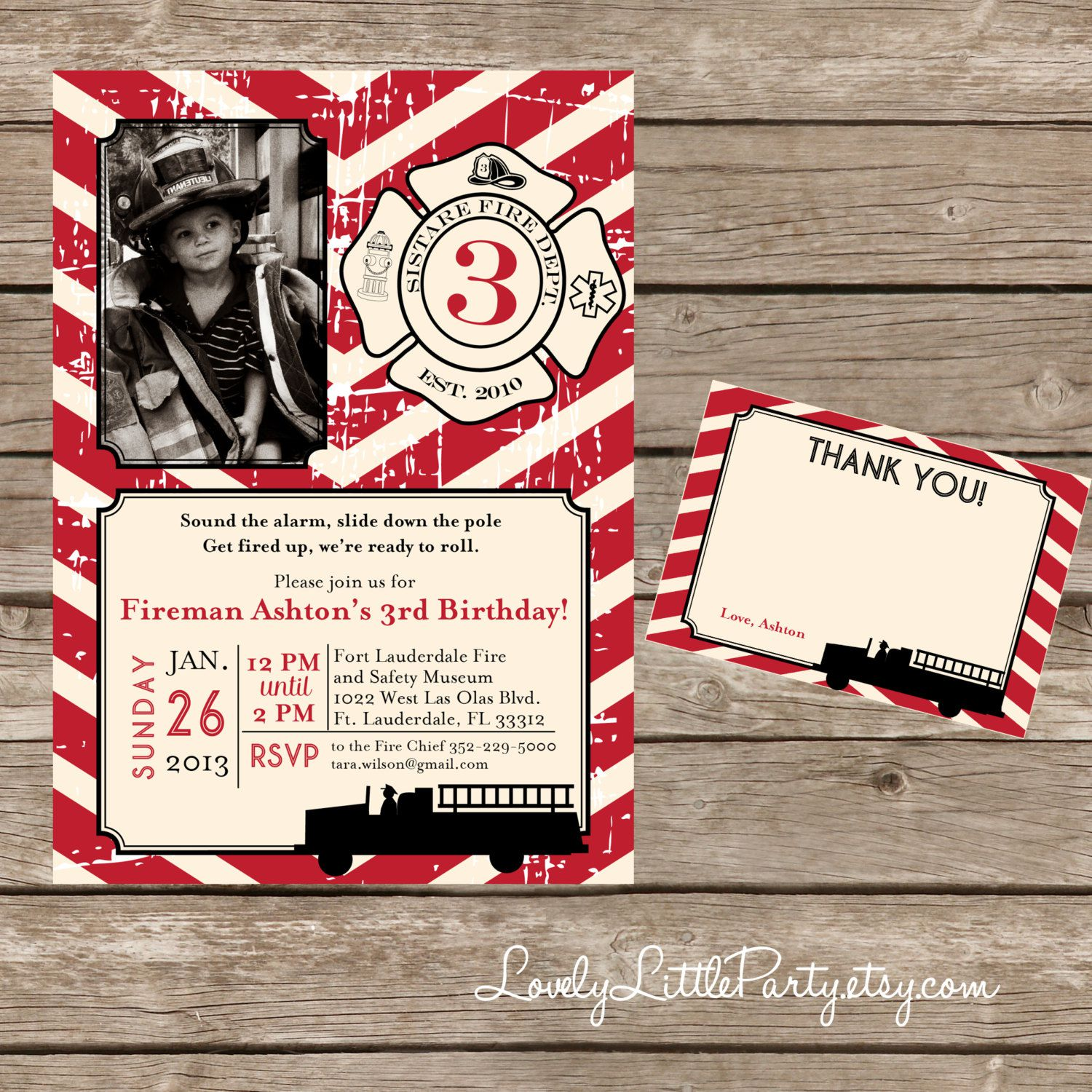 Fire Truck Photo Birthday Invitations