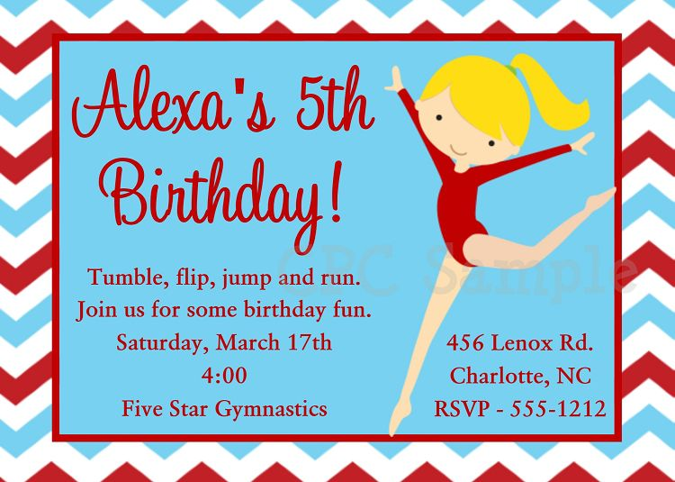 Gymnastics Birthday Invitation Ideas