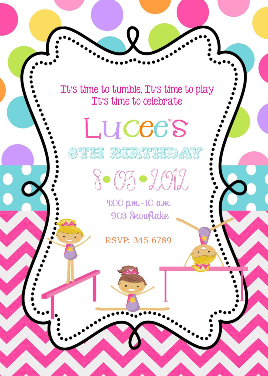 Gymnastics Birthday Invitations Free