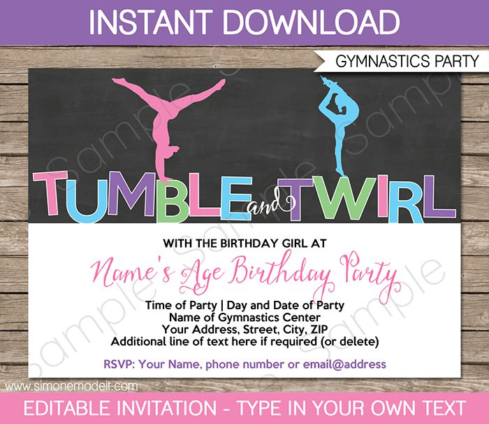 Gymnastics Birthday Invitations Printable