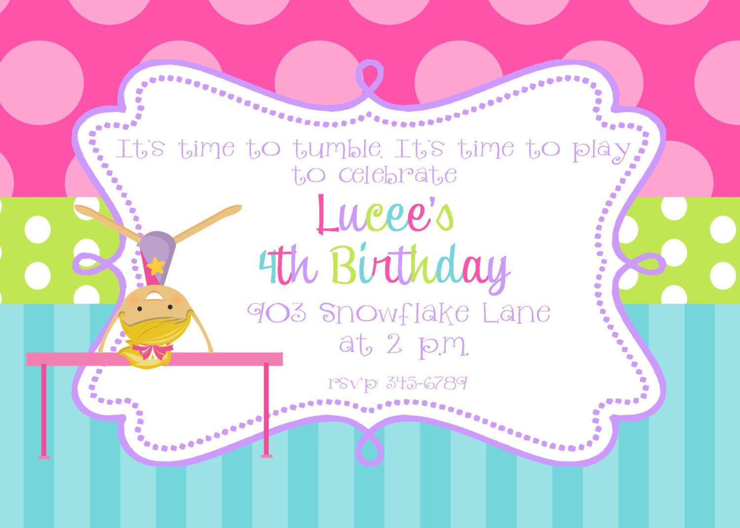 Gymnastics Birthday Invitations Wording